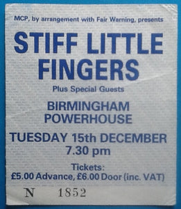 Stiff Little Fingers Original Used Concert Ticket Birmingham 1987