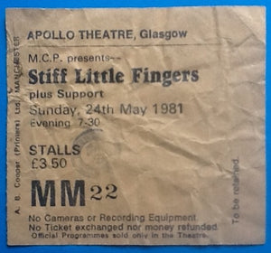Stiff Little Fingers Original Used Concert Ticket Glasgow 1981