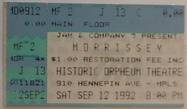 Morrissey Original Used Concert Ticket Orpheus Theatre, Minneapolis 1992
