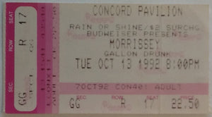 Smiths Morrissey Original Used Concert Ticket Concord Pavilion 13th Oct 1992