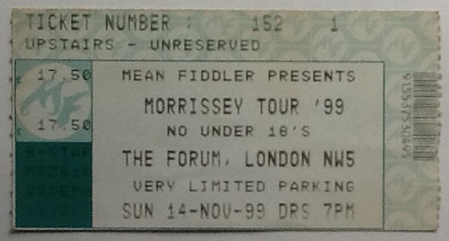 Smiths Morrissey Original Used Concert Ticket The Forum London 1999