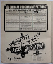 Load image into Gallery viewer, Sex Pistols Original Anarchy in the UK Tour Advert Man City v Derby County Programme 1976