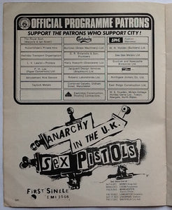Sex Pistols Original Anarchy in the UK Tour Advert Man City v Derby County Programme 1976