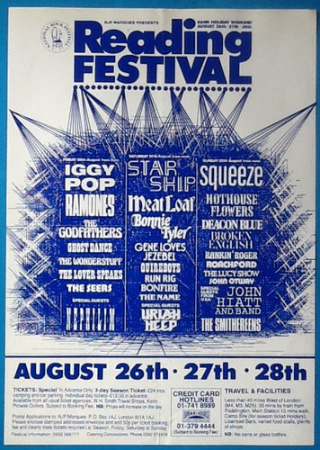 Iggy Pop Squeeze Starship Original Reading Festival Handbill Flyer 1988