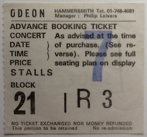 Squeeze Original Used Concert Ticket Hammersmith Odeon London 1981