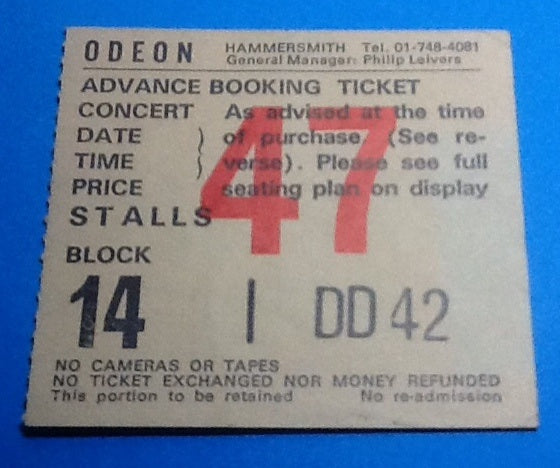 Squeeze Ticket London 1985