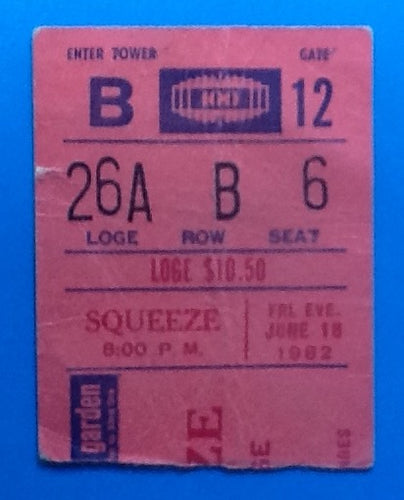 Squeeze Used Concert Ticket New York 1982