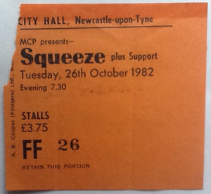 Squeeze Original Used Concert Ticket City Hall Newcastle 1982