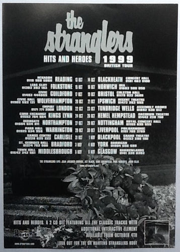 Stranglers Original Concert Handbill Flyer Hits and Heroes Tour 1999