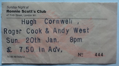 Hugh Cornwell Roger Cook Andy West Original Used Concert Ticket Ronnie Scott's Club London 1991