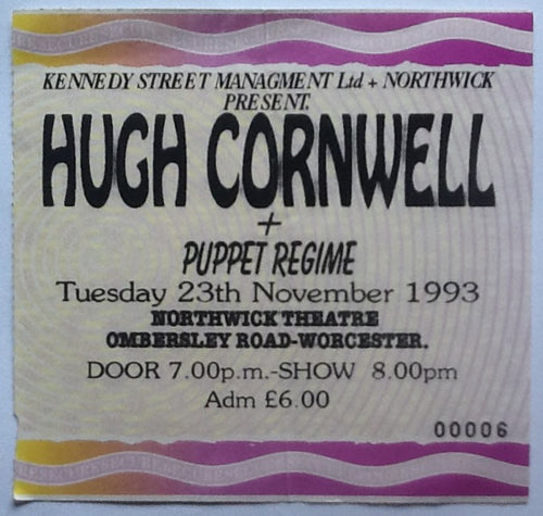 Hugh Cornwell Original Used Concert Ticket Northwick Theatre Worcester 1993