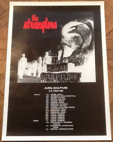 Stranglers Original Concert Tour Gig Poster Aural Sculpture UK Tour 1985