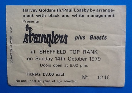 Stranglers Original Concert Ticket Sheffield 1979