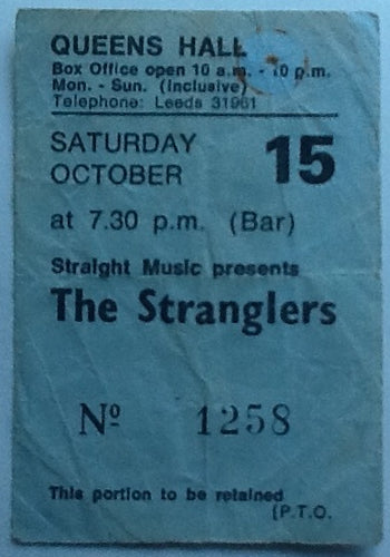 Stranglers Original Used Concert Ticket Queens Hall Leeds 1977