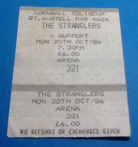 Stranglers Original Used Concert Ticket Cornwall Coliseum St. Austell 1986