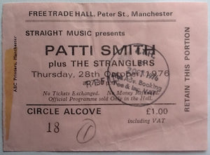 Stranglers Patti Smith Original Used Concert Ticket Manchester 1976