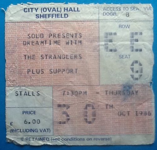 Stranglers Original Used Concert Ticket Sheffield 1986