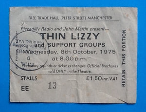 Thin Lizzy Original Concert Ticket Manchester 1975