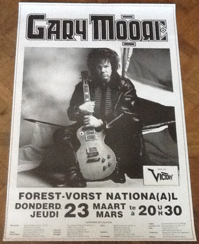 Gary Moore Original Concert Tour Gig Poster Forest National Brussels 1989