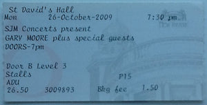 Gary Moore Original Used Concert Ticket St. David's Hall Cardiff 2009