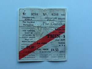 Thin Lizzy Original Used Concert Ticket Guildhall Portsmouth 1980
