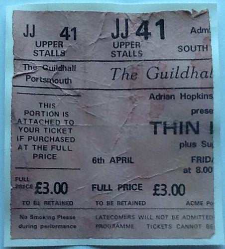 Thin Lizzy Original Used Concert Ticket Guildhall Portsmouth 1979