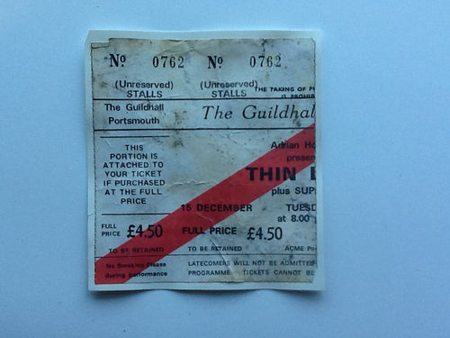 Thin Lizzy Original Used Concert Ticket Guildhall Portsmouth 1981