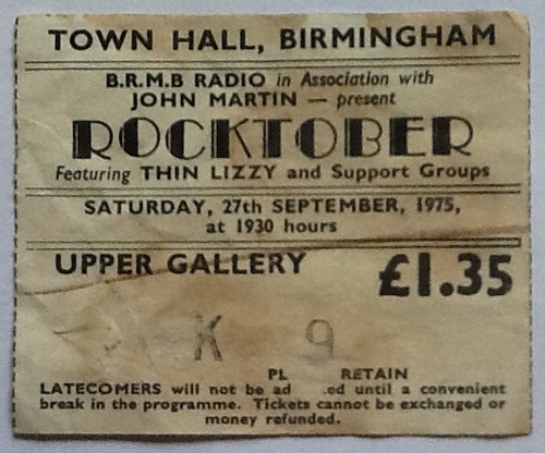 Thin Lizzy Original Used Concert Ticket Town Hall Birmingham 1975