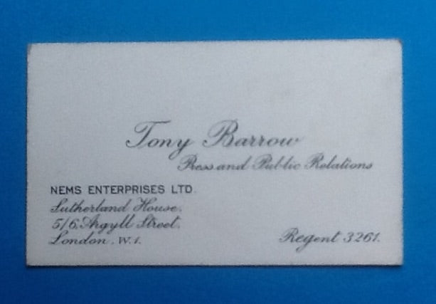 Beatles  Tony Barrow  Business Card NEMS Enterprises 1964