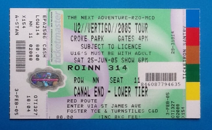 U2 Original Unused Concert Ticket Dublin 2005