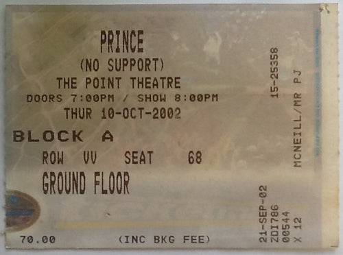 Prince Original Used Concert Ticket Point Theatre Dublin 2002