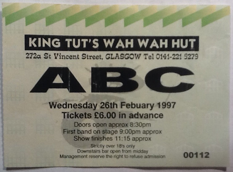 ABC Original Used Concert Ticket King Tut's Wah Wah Hut Glasgow 1997
