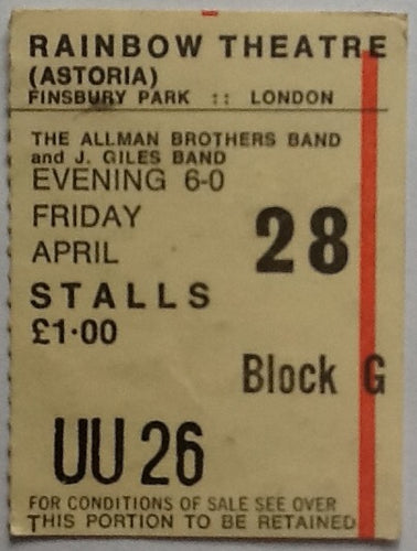 Allman Brothers J. Giles Band Original Used Concert Ticket Rainbow Theatre London 1972