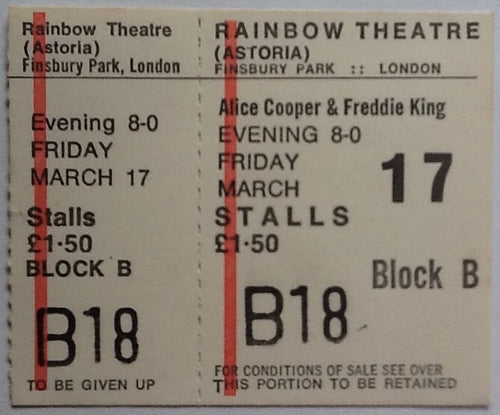 Alice Cooper Original Unused Concert Ticket Rainbow Theatre London 1972