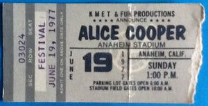 Alice Cooper Original Used Concert Ticket Anaheim Stadium 1977