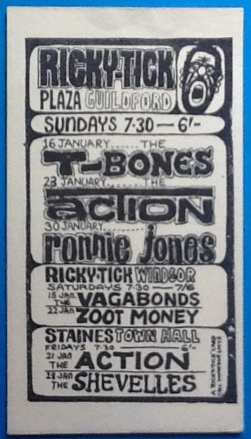 T Bones The Action Original Concert Handbill Flyer Ricky Tick Club Windsor Staines Guildford 1966