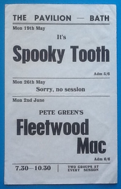 Fleetwood Mac Handbill Flyer Bath 1969
