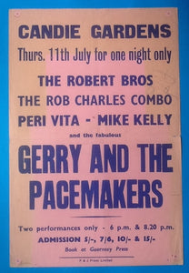 Gerry and the Pacemakers Concert Poster Guernsey 1963