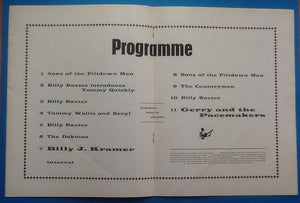 Gerry & the Pacemakers Billy J Kramer Programme Southend 1963