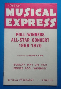 Love Affair Cliff Richard NME Poll Winners Programme Wembley 1970