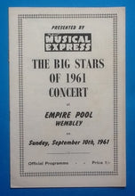 Load image into Gallery viewer, Cliff Richard Adam Faith NME Big Stars Programme Wembley 1961