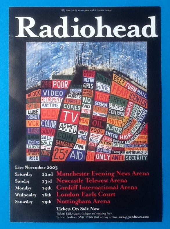 Radiohead Original Handbill Flyer UK Tour 2003