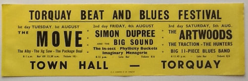 Move The Artwoods Simon Dupree Original Window Poster Handbill Flyer Torquay Beat and Blues Festival 1967