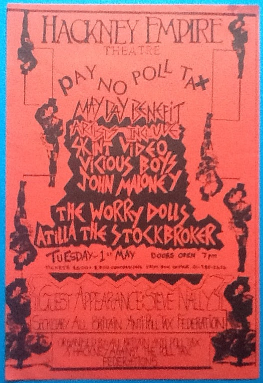 Atilla the Stockbroker Original Concert Handbill Flyer Hackney Empire London 1990