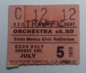 Traffic Concert Ticket Santa Monica 1970