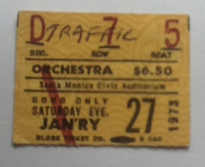 Traffic Concert Ticket Santa Monica 1973