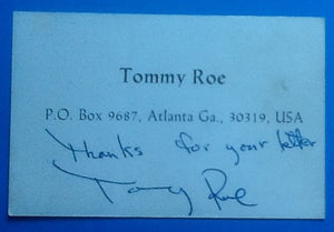Tommy Roe Autographed Business Card