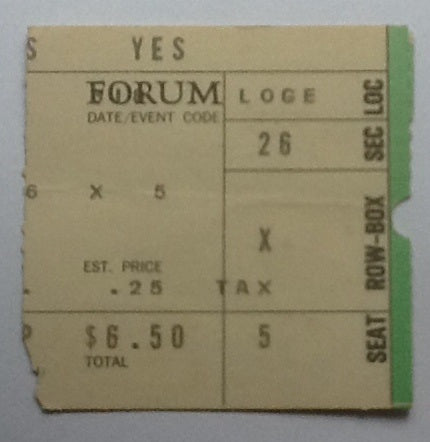 Yes Concert Ticket Forum Los Angeles 18th Mar 1974