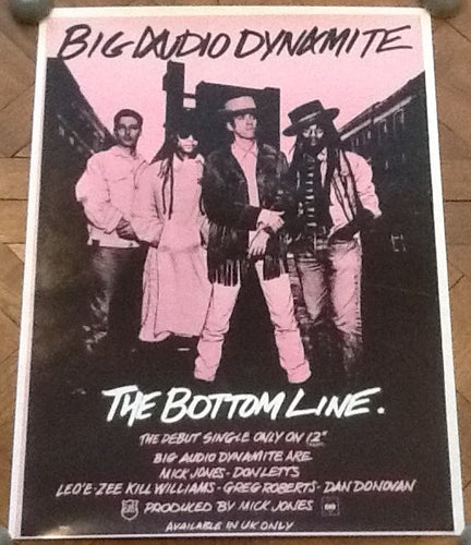 Big Audio Dynamite The Bottom Line Original Promo Poster CBS Records 1983