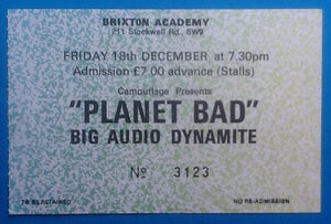 Big Audio Dynamite Used Concert Ticket London 1987